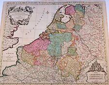 Belgii XVII Provintarum Karte Map Jaillot 1697 Orig Kupferkarte Belgien BeNeLux