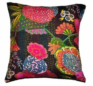 Indian Black Embroidered Handmade Decorative Kantha Pillow Cover, Floral, 16x16