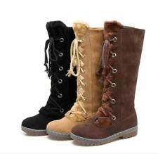 Womens Sz35-43 Suede Knee High Boots Winter Lace Up Oxford Style Flat Heel Shoes