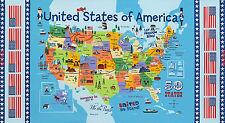 USA Map Fabric - Patriotic 50 United States Timeless Treasures C3741 - Panel