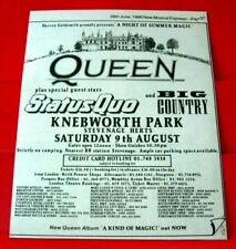 """Queen/Status Quo/Big Country Knebworth Gig ORIG 1986 Press/Mag ADVERT 7""""x 5.5"""""""