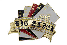 Men Women Gold Metal Casino Cards StBelt Buckle Luck Charm Royal Flush Las Vegas