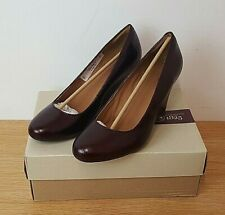 Clarks Shoes Elsa Purity Burgundy Wedge Court Shoes Snakeskin New in Box UK 6