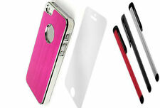 LUXURY HOT PINK Brushed ALUMINIUM CHROME Hard Case Cover For iPhone 5 5S  5G SE