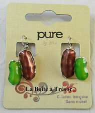 Boucles d'Oreilles Pure By Noa Margo Vert 2 cm Dormeuses - Bijoux Pure By Noa