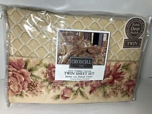 CROSCILL HOME RETIRED Twin SHEET SET GREENWICH FLOWERS NEW GORGEOUS