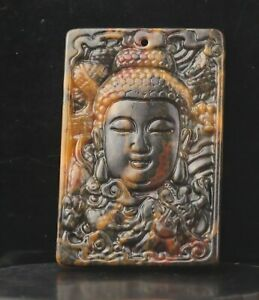 Old China natural jade hand-carved statue buddha guanyin pendant