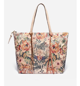 Johnny Was Zoey Printed Boho Chic Shoulder Tote Bag Washed Italian Leather $425