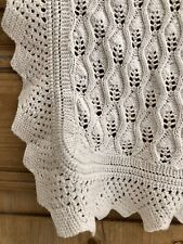 Vintage French NEWBORN child CROCHET knitted cotton COVERLET c1930