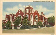 Linen Postcard; First Presbyterian Church McAlester OK Pittsburg County Unposted