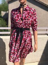 Silk Floral Shirt Dress with Belt