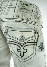 "$220 Mens Rock Revival Jeans ""Dan"" Miami Vice White Leather Straight 40 X 33 *"