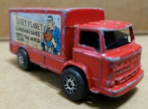 VINTAGE CORGI JUNIORS Leyland Terrier SUPERMAN DAILY PLANET RED DELIVERY TRUCK