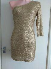 Tfnc sequin Gold Mini One Shoulder dress Size 14 Large