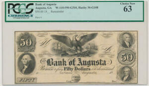 Bank of Augusta Georgia $50 Dollar Bank Note. PCGS 63