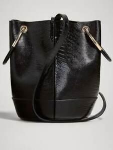 🔥New Genuine  MASSIMO DUTTI  Croc-Effect Leather Bucket Gold Metal Handles Bag
