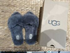 Ugg Grey Fluff Sliders Slippers Size 5