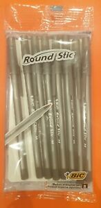 Bic Round Stic Black Ballpoint Medium Biro Pen 8 pack