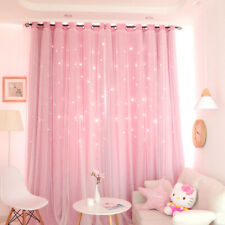 2Layer Stars Tulle&Blackout Curtains Room Darkening Starry Curtain Girls Bedroom
