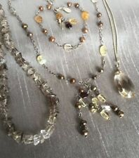Lot 925 Silver Smokey Quartz Pearl Citrine Lariat Necklace Bracelet Set Pendant