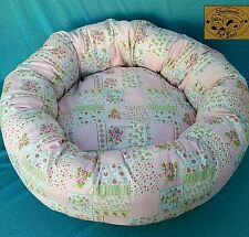 """Starbarks Pet Beds Pink Shabby Patch Small 20"""" Washable Nest Bolster Dog Bed USA"""
