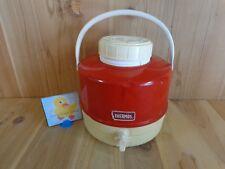 Vintage THERMOS PICNIC JUG Red Metal 1 Gallon Spigot Dispenser Dog Bowl on Top