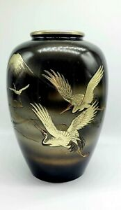 """Vintage Japanese Mixed Metal Vase Brass Mountains Birds Clouds 11"""" Painted"""