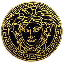 "2.5"" Black VINTAGE MEDUSA LOGO Embroidered Iron On / Sew On Patch"