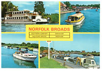 Norfolk Broads: Multiview Boats England Rare Picture Postcard