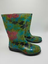 Sloggers Womens Waterproof Rain Garden Boots Green Floral Size 6 Made in USA