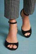 Anthropologie Peep Toe Heels Black Suede Dress Shoe Size 6.5