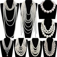Fashion White Resin Pearl Chain Chunky Choker Statement Pendant Bib Necklace New