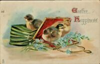 Antique Postcard Easter Fantasy Tuck's Chicks in a Purse w/ Flowers 1912  No.715