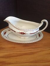 Johnson Brothers GUILDFORD Maroon Old English Gravy Boat Made in England