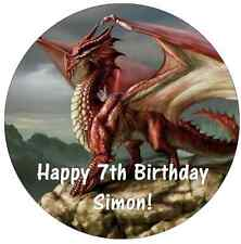 Dragons Mythical Personalised Cake Topper Edible Wafer Paper 7.5""