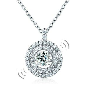 Women Dancing Stone Halo Pendant Necklace Solid 925 Sterling Silver Jewelry