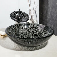 US Chrome Tap  Vessel Sink With Faucet Bath Waterfall Bowl Combo Glass