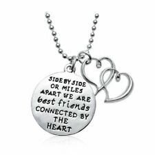 925 Silver Plt 'Side Or Miles Apart Best Friend By Heart' Engraved Necklace A