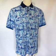 NWT Bugatchi Size X-Large S/S Shaped Fit Blue Abstract Pique Polo Golf Cotton