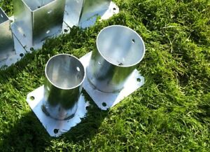 UK tax paid ROUND/CIRCULAR Heavy Galvanised Bolt Down Fence Foot Base Support