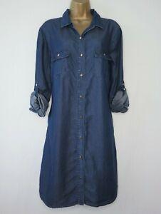 NEW LOOK BLUE DENIM ROLL SLEEVE SHIRT DRESS SIZE 14