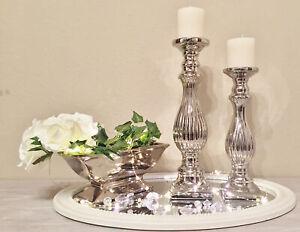 Kerzenständer Geriffelt Silber Kerzenleuchter Kerzenhalter Shabby Chic