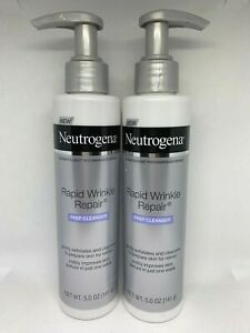 2 Neutrogena Rapid Wrinkle Repair Anti Wrinkle Facial Cleanser 5.0oz Each New