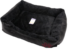 Large Comfy Soft Rex Leather Fur Washable Pet Cat Dog Warm Mat Basket Bed Black