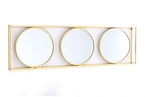 Large Triple Round Glass Wall Mirror | Gold Metal Frame | Living Room Home Decor