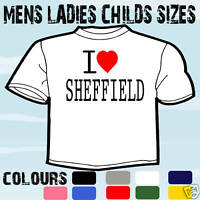 I LOVE HEART SHEFFIELD T-SHIRT ALL SIZES & COLOURS