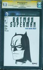 Batman Superman 1 CGC SS 9.2 Mike McKone art Sketch Justice League Movie 8/13