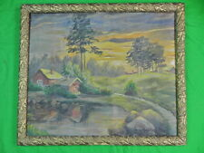 Vintage Very Old Framed Signed House in the Forest Oil Painting