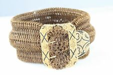 VICTORIAN ANTIQUE 14K GOLD ENAMEL BELT BUCKLE HAIR MOURNING BRACELET