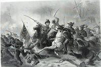 Civil War BATTLE OF GETTYSBURG Meade Lee ~ Antique Old 1881 Art Print Engraving